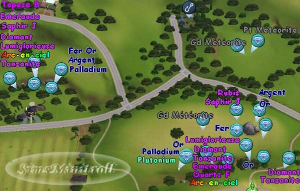 Sims 3 pierres spaciales métaux précieux où les trouver